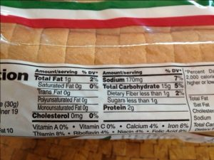 This bread shows 1 serving = 1 slice, therefore each slice contributes 80 calories and 170 mg sodium. More calories and more sodium.